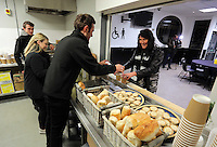 Pictured: People get served food and hot drinks Tuesday 29 November 2016<br />