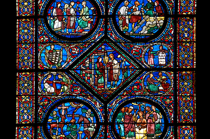 Medieval Stained Glass Window Of The Gothic Cathedral Chartres France