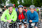 Scartaglen men Mike Moran, Sean Reidy and Niall Casey on their bikes at the start of the Ring of Kerry cycle in Killarney on Saturday morning