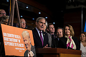 United States Representative John Yarmuth (Democrat of Kentucky) speaks with reporters during a press conference held by US House Democrats at the US Capitol on the first morning of a government shutdown as congress looks to end the political deadlock and fund the government on January 20th, 2018 in Washington, D.C. <br /> Credit: Alex Edelman / CNP