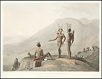 BNPS.co.uk (01202 558833)<br /> Pic: Bonhams/BNPS<br /> <br /> Bushmen Hottentots armed for an expedition.<br /> <br /> A 200-year-old volume of art work that gave Briton's their first look at the country of South Africa has surfaced. <br /> <br /> Natural history painter Samuel Daniell became one of the first to depict the African country while on an expedition there at the turn of the 19th century. <br /> <br /> His raw, almost photographic, paintings were shipped back to the UK to offer westerners a before unseen window into South Africa. <br /> <br /> The stunning works, which were done before the dawn of photography, picture wild animals and native peoples against the rugged backdrop of the the country's Atlantic coast. <br /> <br /> This first edition copy has been in private ownership in South Africa for the past century but will be sold on February 1 by Bonhams auctioneers. <br /> <br /> It is thought to be worth up to &pound;25,000.