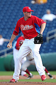 Philadelphia Phillies Eddie Bonine #83 during a scrimmage vs the Florida State Seminoles  at Bright House Field in Clearwater, Florida;  February 24, 2011.  Philadelphia defeated Florida State 8-0.  Photo By Mike Janes/Four Seam Images