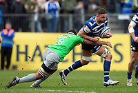 Elliott Stooke of Bath Rugby takes on the Harlequins defence. Gallagher Premiership match, between Bath Rugby and Harlequins on March 2, 2019 at the Recreation Ground in Bath, England. Photo by: Patrick Khachfe / Onside Images