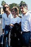 Peter and Jane Fonda and Tom Hayden in 1986 in Los Angeles, California.
