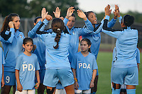 Piscataway, NJ - Saturday Aug. 27, 2016: Stephanie McCaffrey, Sofia Huerta, Cara Walls prior to a regular season National Women's Soccer League (NWSL) match between Sky Blue FC and the Chicago Red Stars at Yurcak Field.