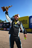 Mar 19, 2017; Gainesville , FL, USA; NHRA pro stock driver Shane Gray celebrates after winning the Gatornationals at Gainesville Raceway. Mandatory Credit: Mark J. Rebilas-USA TODAY Sports