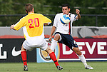 27 June 2008: The United States' Christian Alvarez-Lopez (13) is defended by Bridge's Matthew Mitchell (20). The United States 2009 Under-17 Men's National Team lost to the Bridge FC U16s 1-3 at McPherson Stadium at Bryan Soccer Park in Brown's Summit, NC as part of the U.S. Soccer Federation Development Academy Summer Showcase which is part of the 2007-2008 regular season.
