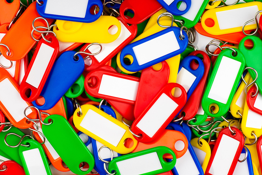 plastic key tags with multiple colors