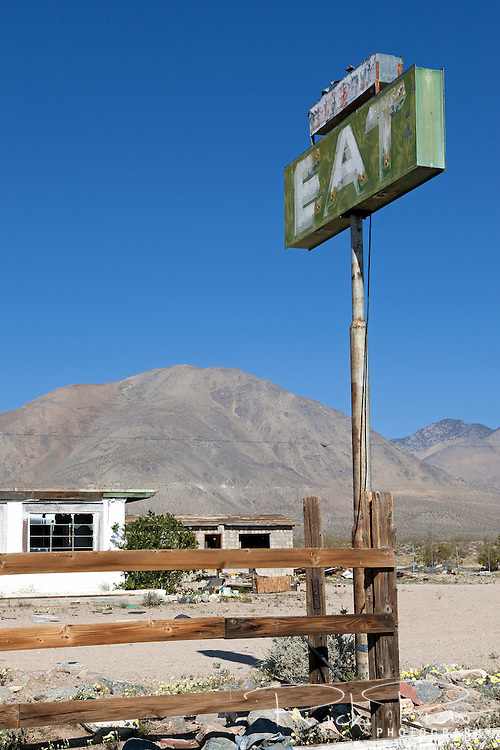 Abandoned resturaunt near Pearsonville in California's Mojave Desert along US 395.