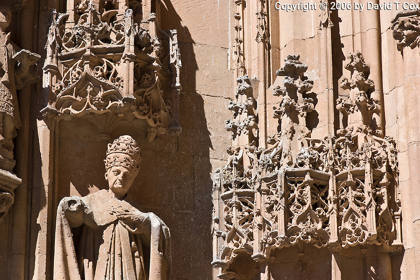 Plateresque detail and Bishop statue, Catedral Nueva entrance, Salamanca, Spain