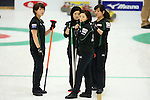 (L to R) Kaho Onodera, Yumie Funayama, Ayumi Ogasawara, Chinami Yoshida (Fortius),  SEPTEMBER 16, 2013 - Curling : Olympic qualifying Japan Curling Championships Women's Final second Mach between Chuden 7-6 Fortius at Dogin Curling Studium, Sapporo, Hokkaido, Japan. (Photo by Yusuke Nakanishi/AFLO SPORT)