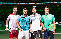 Rotterdam, The Netherlands, 14 Februari 2019, ABNAMRO World Tennis Tournament, Ahoy, Semis, Doubles, <br /> Jeremy Chardy (FRA) Henri Kontinen (FIN) vs Marcel Granollers (ESP) Nikola Mektic (CRO),<br /> Photo: www.tennisimages.com/Henk Koster