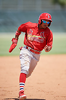 GCL Cardinals left fielder Diomedes Del Rio (44) runs the bases during a game against the GCL Mets on August 6, 2018 at Roger Dean Chevrolet Stadium in Jupiter, Florida.  GCL Cardinals defeated GCL Mets 6-3.  (Mike Janes/Four Seam Images)