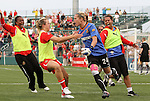 27 August 2011: Western New York's Ashlyn Harris (24) celebrates after making the penalty kick save to win the title. Western New York Flash defeated the Philadelphia Independence 5-4 on penalty kicks to win the final after the game ended in a 1-1 tie after overtime at Sahlen's Stadium in Rochester, New York in the Women's Professional Soccer championship game.