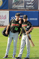 Zach Fisher (13) and Justin Jirschele (9) of the Great Falls Voyagers prior to the game against the Ogden Raptors at Lindquist Field on August 14, 2013 in Ogden Utah. (Stephen Smith/Four Seam Images)