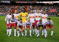 The New York Red Bulls line up before the game at RFK Stadium in Washington, DC.  D.C. United lost to the New York Red Bulls, 4-0.