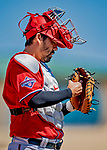 29 February 2020: Washington Nationals catcher Kurt Suzuki checks his mitt prior to a Spring Training game against the St. Louis Cardinals at Roger Dean Stadium in Jupiter, Florida. The Cardinals defeated the Nationals 6-3 in Grapefruit League play. Mandatory Credit: Ed Wolfstein Photo *** RAW (NEF) Image File Available ***