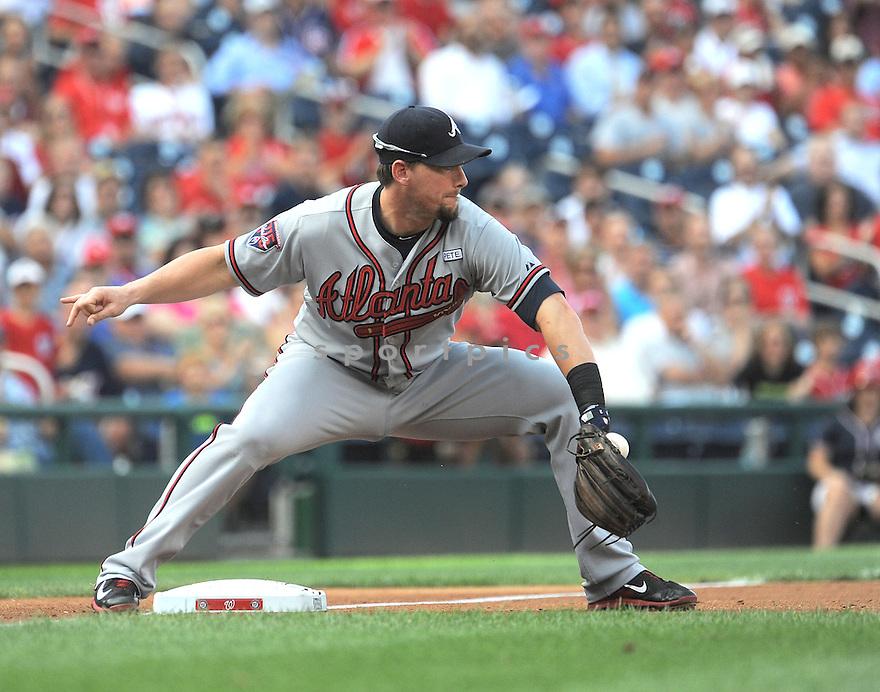 Atlanta Braves Chris Johnson (23) during a game against the Washington Nationals on September 10, 2014 at Nationals Park in Washington DC. The Braves beat the Nationals 6-2.