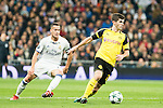 Real Madrid's Lucas Vazquez, Borussia Dortmund Christian Pullsic during Champions League match between Real Madrid and Borussia Dortmund  at Santiago Bernabeu Stadium in Madrid , Spain. December 07, 2016. (ALTERPHOTOS/Rodrigo Jimenez)