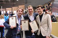 """SHORT TRACK: MOSCOW: Speed Skating Centre """"Krylatskoe"""", 14-03-2015, ISU World Short Track Speed Skating Championships 2015, Aleksey Yesin, Pavel Kulizhnikov, Denis Yuskov, ©photo Martin de Jong"""