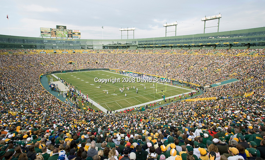 GREEN BAY, WI - OCTOBER 19: A general view of Lambeau Field during the Green Bay Packers game against the Indianapolis Colts on October 19, 2008 in Green Bay, Wisconsin. The Packers beat the Colts 34-14. (Photo by David Stluka)