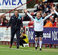 Wycombe Wanderers Manager Gareth Ainsworth and the bench get animated after Luke O'Nien of Wycombe Wanderers is fouled during the Sky Bet League 2 match between Stevenage and Wycombe Wanderers at the Lamex Stadium, Stevenage, England on 17 October 2015. Photo by PRiME Media Images.
