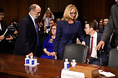 Christine Blasey Ford (R), the woman accusing Supreme Court nominee Brett Kavanaugh of sexually assaulting her at a party 36 years ago, arrives with her Counsel Michael R Bromwich to testify in front of the US Senate Judiciary Committee on Capitol Hill in Washington, DC, September 27, 2018.  / AFP PHOTO / POOL / SAUL LOEB / AFP PHOTO / POOL / Saul LOEB