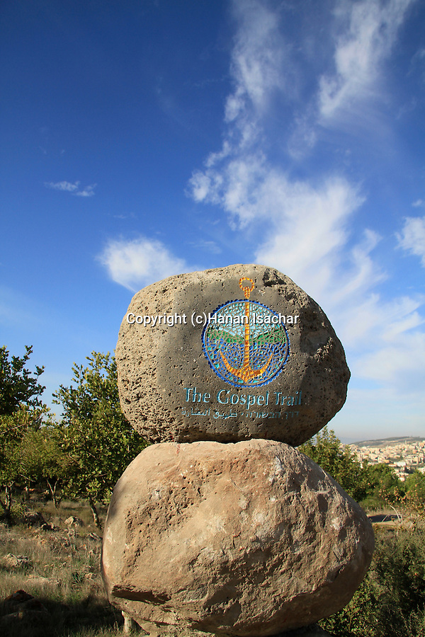 Israel, Lower Galilee, the Gospel Trail sign on Mount Precipice