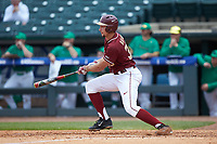 Cal Raleigh (35) of the Florida State Seminoles follows through on his swing against the Notre Dame Fighting Irish in Game Four of the 2017 ACC Baseball Championship at Louisville Slugger Field on May 24, 2017 in Louisville, Kentucky. The Seminoles walked-off the Fighting Irish 5-3 in 12 innings. (Brian Westerholt/Four Seam Images)