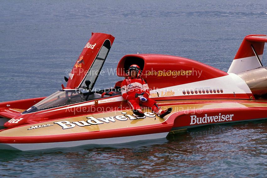 """Gold Cup winner, Tom D'Eath, U-12 """"Miss Budweiser"""", Detroit 1990"""