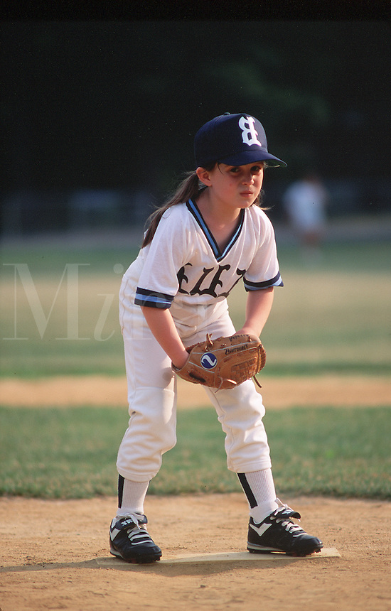 Pitcher on girls' softball team.