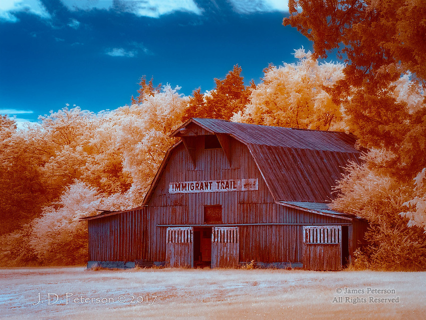 Immigrant Trail, Rutherford County, Tennessee (Infrared) ©2017 James D Peterson.  A weathered barn near Murfreesboro becomes something else again in infrared light.