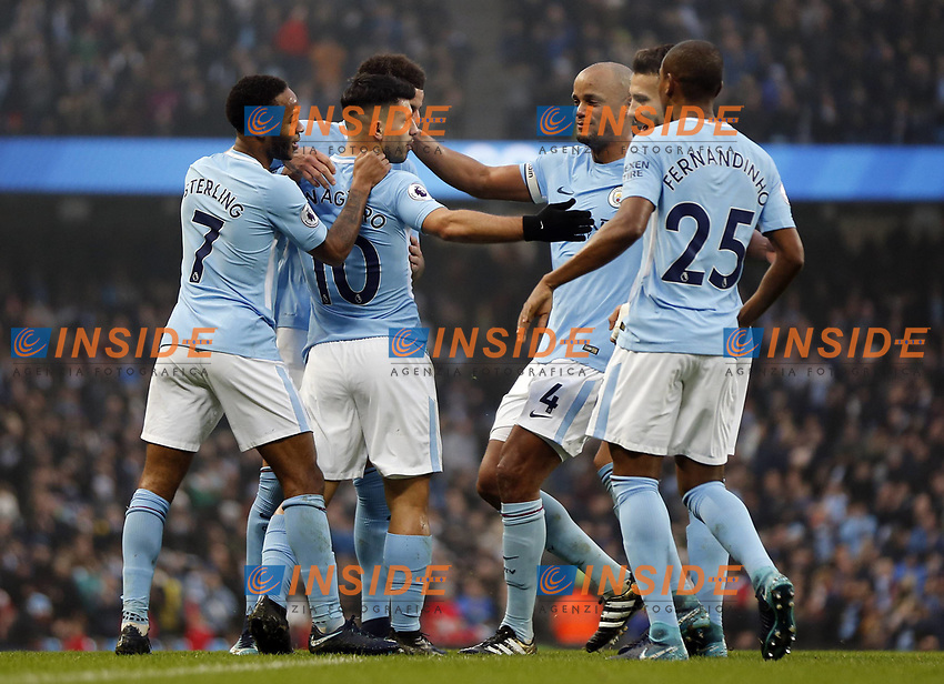 Manchester City v Bournemouth Premier League Sergio Aguero (2nd l) of Manchester City celebrates scoring the opening goal with team mates during the Premier League match at the Etihad Stadium, Manchester PUBLICATIONxNOTxINxUK Copyright: xSimonxMoorex FIL-11128-0011  <br /> Premier League 2017/2018 <br /> Foto Imago / Insidefoto