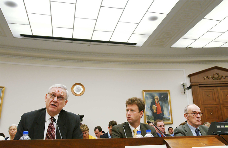 8/4/04.9/11 COMMISSION REPORT HEARING--Left to right: Dr. John J. Hamre, former deputy secretary of Defense; Michael O'Hanlon, military analyst with the Brookings Institute; and William E. Odom, senior fellow at the Hudson Institute and former director of the National Security Agency (1985-88); testify during the House Select Intelligence hearing on the findings and recommendations of the 9/11 Commission. ..CONGRESSIONAL QUARTERLY PHOTO BY SCOTT J. FERRELL