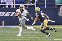 Annapolis, MD - September 8, 2018: Navy Midshipmen wide receiver Emmett Davis (6) runs past Navy Midshipmen linebacker Walter Little (35) during the game between Memphis and Navy at  Navy-Marine Corps Memorial Stadium in Annapolis, MD.   (Photo by Elliott Brown/Media Images International)