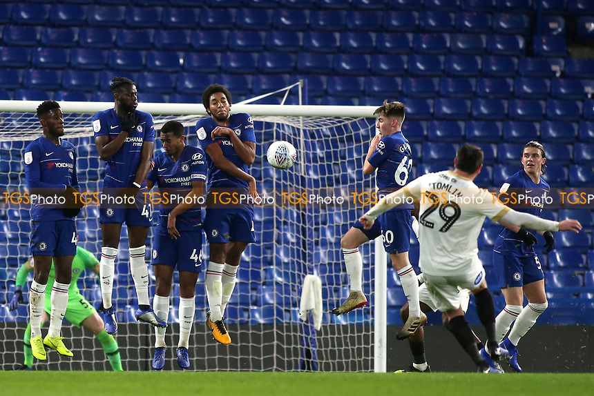 A free-kick from Peterborough's Lee Tomlin is blocked by the Chelsea defensive wall during Chelsea Under-21 vs Peterborough United, Checkatrade Trophy Football at Stamford Bridge on 9th January 2019