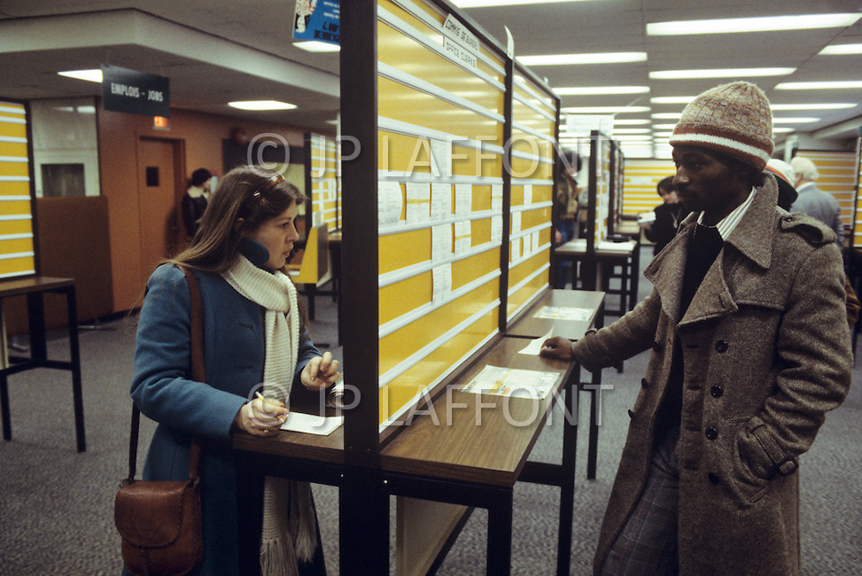 Montreal, Canada, March 1978. Unemployment center.