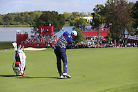 Dustin Johnson US Team plays his 2nd shot on the 10th hole during Thursday's Practice Day of the 41st RyderCup held at Hazeltine National Golf Club, Chaska, Minnesota, USA. 29th September 2016.<br /> Picture: Eoin Clarke | Golffile<br /> <br /> <br /> All photos usage must carry mandatory copyright credit (&copy; Golffile | Eoin Clarke)