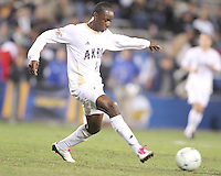 Darren Mattocks #11 of the University of Akron during the 2010 College Cup semi-final against the University of Michigan at Harder Stadium, on December 10 2010, in Santa Barbara, California. Akron won 2-1.