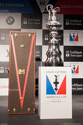 The America's Cup trophy on display during a news conference on June 1, 2016, Tokyo, Japan. The American's Cup Event Authority, Fukuoka City, Japan SoftBank Group Corp. (SBG) and the JSAF announced that the ninth race of the the Louis Vuitton America's Cup World Series (LVACWS) will be held in Fukuoka, the fifth largest city in Japan, from November 18 to 20, 2016. Fukuoka will be the first city to host the LVACWS in Asia since the competition started in 1851. The race is part of the qualifiers for the 35th America's Cup 2017. (Photo by Rodrigo Reyes Marin/AFLO)