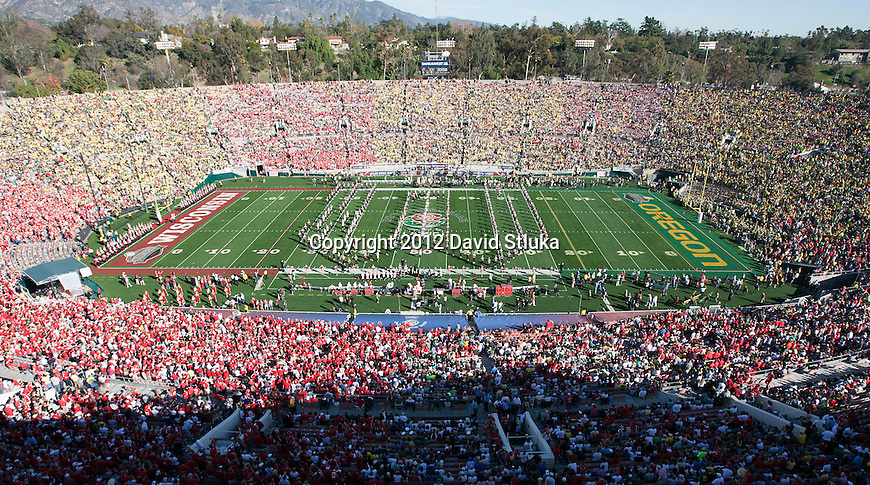 Wisconsin Badgers marching band performs in the Rose Bowl Stadium prior to the 2012 Rose Bowl NCAA football game against the Oregon Ducks in Pasadena, California on January 2, 2012. The Ducks won 45-38. (Photo by David Stluka)