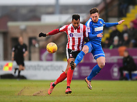 Lincoln City's Matt Green vies for possession with Notts County's Matt Tootle<br /> <br /> Photographer Chris Vaughan/CameraSport<br /> <br /> The EFL Sky Bet League Two - Lincoln City v Notts County - Saturday 13th January 2018 - Sincil Bank - Lincoln<br /> <br /> World Copyright &copy; 2018 CameraSport. All rights reserved. 43 Linden Ave. Countesthorpe. Leicester. England. LE8 5PG - Tel: +44 (0) 116 277 4147 - admin@camerasport.com - www.camerasport.com