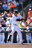 Baltimore Orioles infielder Ryan Flaherty (3) during a Spring Training game against the Detroit Tigers on March 4, 2015 at Ed Smith Stadium in Sarasota, Florida.  Detroit defeated Baltimore 5-4.  (Mike Janes/Four Seam Images)