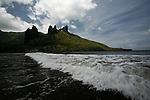 Aakapa beach,   north coast of Nuku Hiva<br /> <br /> <br /> Plage du village de Hatiheu au petit matin. Ile de. Nuku Hiva