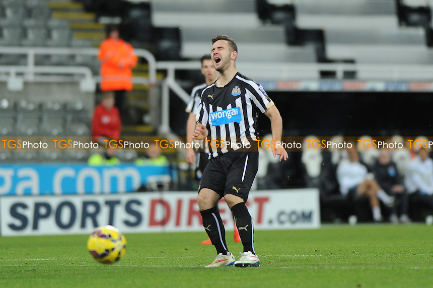 A frustrated Adam Armstrong of Newcastle United after mis kicking a shot - Newcastle United Under-21 vs Arsenal Under-21 - Barclays Under-21 Premier League Football at St James Park, Newcastle United FC - 09/02/15 - MANDATORY CREDIT: Steven White/TGSPHOTO - Self billing applies where appropriate - contact@tgsphoto.co.uk - NO UNPAID USE