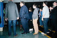 Republican presidential candidate and New Jersey governor Chris Christie gets ready to enter the room for his final New Hampshire town hall of the primary election at the St. George Greek Orthodox Cathedral in Manchester, New Hampshire, on Mon., Feb., 8, 2016.