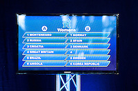 30 MAY 2012 - LONDON, GBR - A monitor shows the addition of host nation Great Britain to women's Group A during the London 2012 Olympic Games Handball Draw at the National Sports Centre in Crystal Palace, Great Britain. The remaining place in Group B was taken by France (PHOTO (C) 2012 NIGEL FARROW)