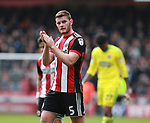 Jack O'Connell of Sheffield Utd applauds the fans during the championship match at the Bramall Lane Stadium, Sheffield. Picture date 14th April 2018. Picture credit should read: Simon Bellis/Sportimage