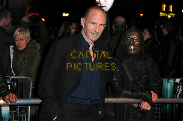 "RALPH FIENNES .""Harry Potter And The Deathly Hallows: Part 1"" World Film Premiere, Empire cinema Leicester Square and Odeon Leicester Square, London, England, UK, 11th November 2010. .half length black jacket blue navy shirt .CAP/CAS.©Bob Cass/Capital Pictures."