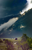 Cattle shed, animal shelter stormy weather in alpine meadow, Imst district, Tyrol,Tirol, Austria.
